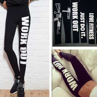 Workout Leggings Yoga Gym Fitness White Letters Women Tight Pants