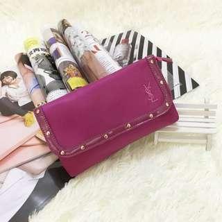 YSL 粉紅色 晚裝袋 手提袋 化妝袋 ~ 專櫃VIP贈品