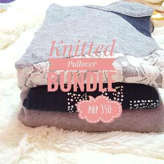 Knitted Pullover Bundle - Gray, Navy Blue, Lace Studded Sweaters