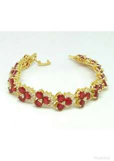 Gold Plating Bracelet With 'Ruby' Crystals & Clear Crystals.