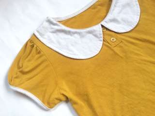 Cute PeterPan Collared Mustard Top