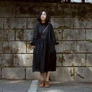 文藝森林系女孩連衣裙(藏青色)