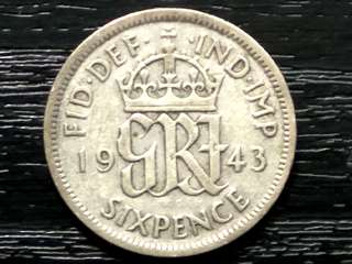 1943 King George VI Silver 6 Pence From Great Britain Coin