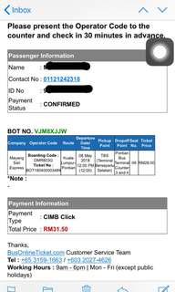 Bus Ticket From TBS To Pontian