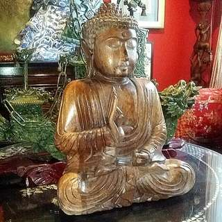 Antique Vintage Wood Carved Buddha