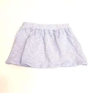 🚚 babyGap toddler Gap童裝 女童純棉春夏短裙 鬆緊帶休閒裙子 淺藍色白色條紋公主短裙
