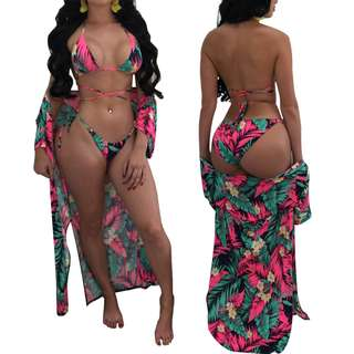 Paradise Is Coming 3 Piece Sunkini Set - Tropical
