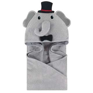 Little Treasure Baby Animal Face Hooded Towel Grey Elephant Boy