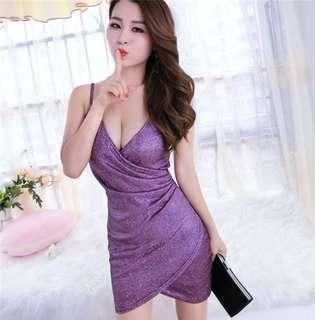Formal: Purple Sexy Low Bust Straps Shining Dress (One Size) - OA/MKE041408