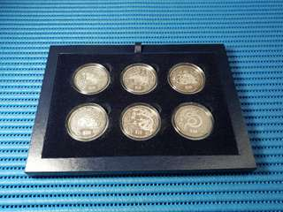 1993 - 2004 Singapore Lunar 2nd Series $10 Silver Piedfort Proof Coin with Display Case ( Lot of 12 Pieces )