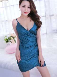 Formal: Blue Sexy Low Bust Straps Shining Dress (One Size) - OA/MKE041408