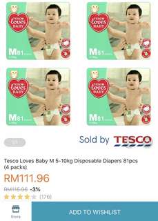 Tesco loves baby diapers - Size M