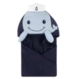 Little Treasure Baby Animal Face Hooded Towel Blue Whale