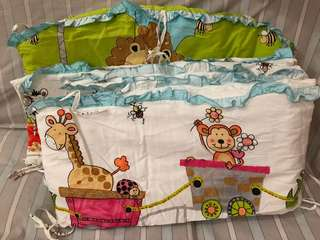 Baby crib set + fitted sheet + baby stuffs pockets
