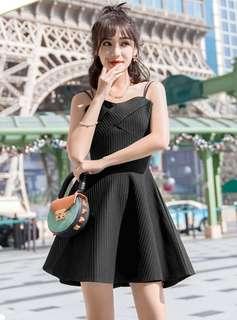 Formal: Black Korean Backless Tie Straps Flouncing Dress (S / M / L / XL) - OA/MKE032724