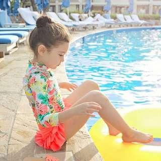 🚚 ▶夏季泳裝 / ▶女童泳衣☑韓版防曬碎花中長款蛋糕裙兒童泳衣