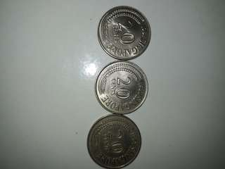 Old Coins SG.20 cent. Year 1981,1980,1967.