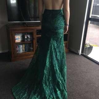 Emerald green lace ball dress