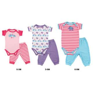 Luvable Friends 6 Piece Baby Grow With Me Set For Girl (pink/purple/stripes)