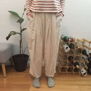 Merlot camp cream beige wide leg harem pants.