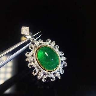 天然寶石素面祖母綠吊墜!emerald pendent