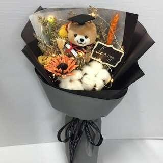 Graduation Bouquet - Dried flowers with led lighting (Ht 40cm x w23cm)