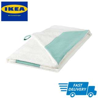 IKEA TILLGIVEN Baby towel with hool,white,turquoise FAST DELIVERY