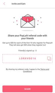 Sign Up For Paylah Using This Referral Code and Get $5!! Easy! 😊