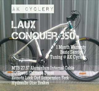 """*Free Delivery* MTB 27.5"""" LAUX Conquer 350 Aluminium Internal Cable 30 Speed Shimano Deore Hydraulic Disc Brakes Remote Lock Out Suspension Fork"""