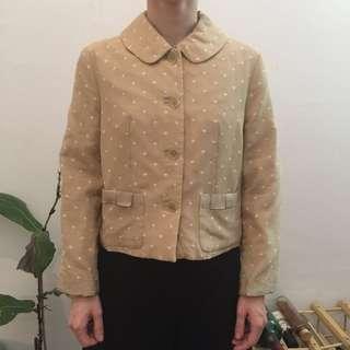 Jane Marple beige with cream dot short jacket