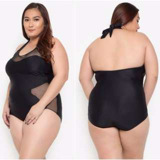Stylish Halter Spliced Plus Size One-Piece Swimsuit (EF-7DPSSW00)
