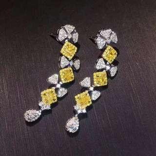 奢華大牌款 18k金黃鑽鑽石耳墜