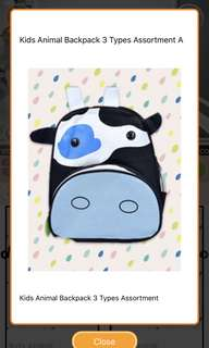 BNIP cow toddler kids backpack bag