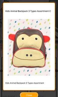 BNIP monkey kids toddler backpack instock bag