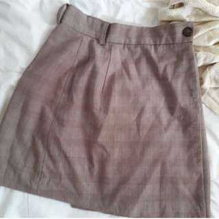 Checkered/ Grid Brown A-Line Skirt #20under