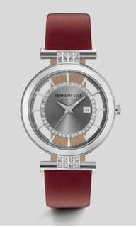 Brand New KENNETH COLE TRANSPARENT SILVER-TONE RED LEATHER WATCH