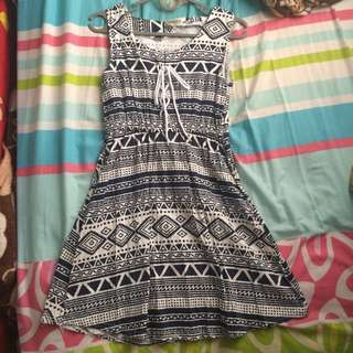 Lace Up Aztec Black & White Skater Dress #20under