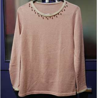 No brand Embellished Knit Top from Korea - Pink