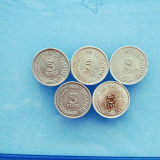 Singapore 1st Series 5 pieces of 5 Cents Coin