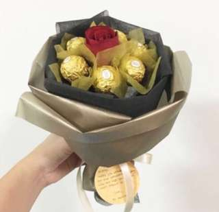Chocolate Bouquet with Rose / Graduation Bouquet with Ferrero rocher /