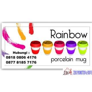 JUAL Mug keramik promosi rubber - rainbow cup