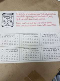 1969 Milkmaid calendar in 4 languages