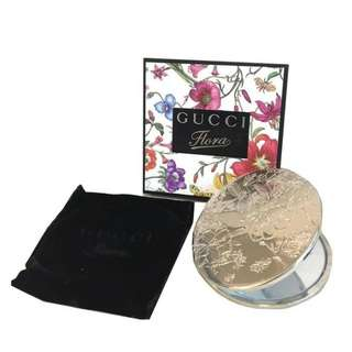 Gucci Flora Silver compact make up mirror with velvet pouch