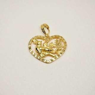Love birds heart shaped double happiness pendant