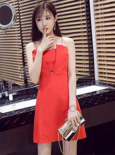 Formal: Red Sexy Hollow Out V-Neck Straps Dress (S / M / L) - OA/HHD060627