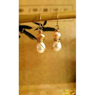HANDMADE! Genuine Pearl Earrings 20024