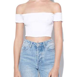 white off the shoulder cropped top