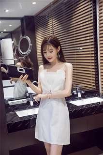 Formal: White Sexy Hollow Out V-Neck Straps Dress (S / M / L) - OA/HHD060627