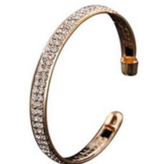 Gold Crystal Rhinestone Open Bracelet