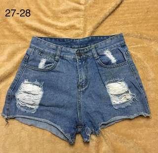 Highwaist Denim Maong Tattered Ripped Shorts 16